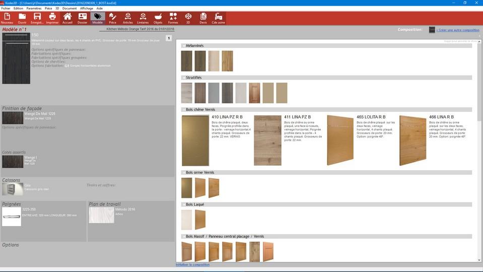 choix coloris cuisine kodes 3d