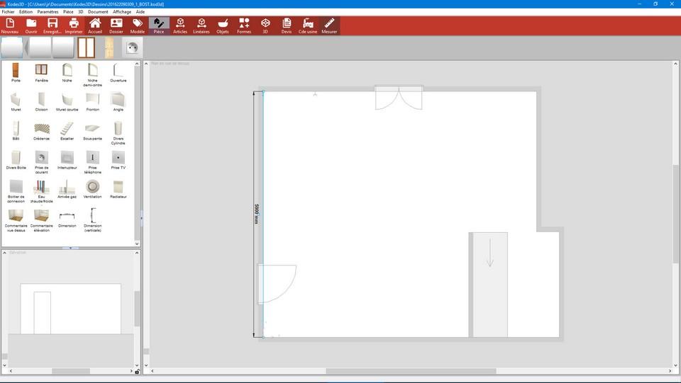 dessin pièce cuisine logiciel lodes3d